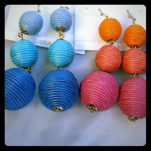Handmade 3 Ball Drop Earrings Woven Silk Twine